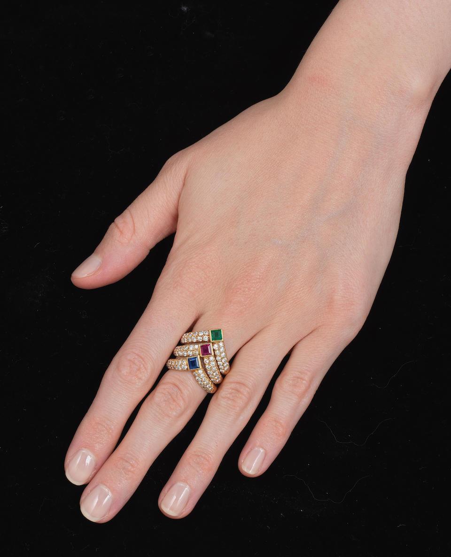 VAN CLEEF & ARPELS: THREE DIAMOND AND GEM-SET RINGS