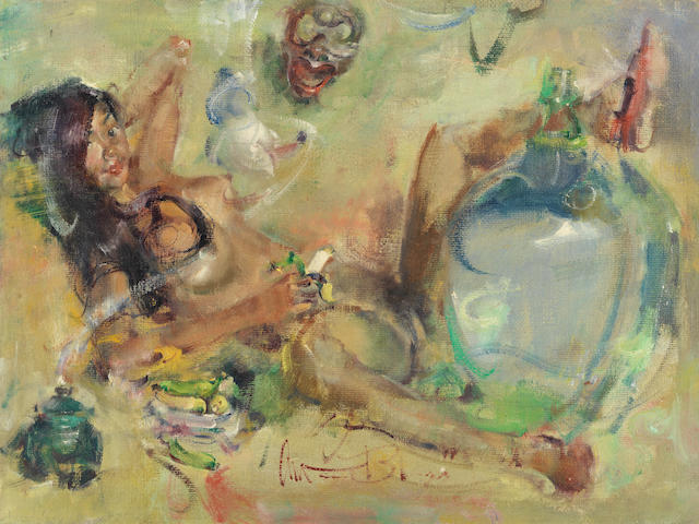 Antonio Blanco (Filipino, 1912-1999) Reclining nude with devil mask, large glass flask and bananas (in frame with arched top)
