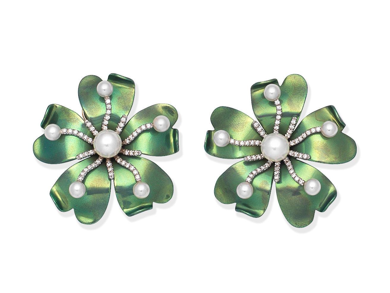 MARGHERITA BURGENER: CULTURED PEARL AND DIAMOND-SET EARCLIPS