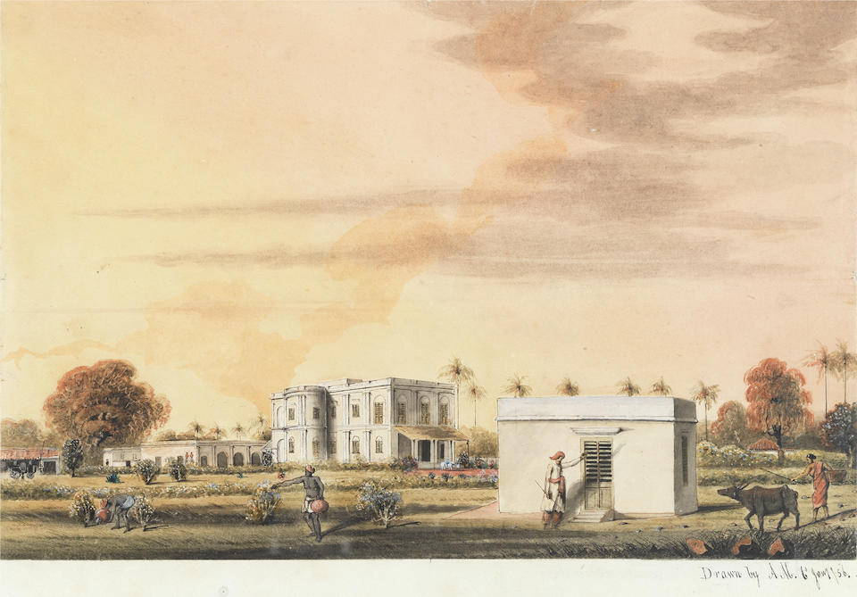 English School, 19th Century A view of colonial buildings in India (together with a watercolour in the Manner of Charles D'Oyly depicting a river view in India. (2))