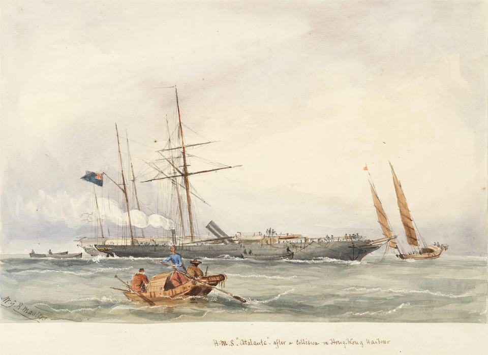 Lt. Col. William Godfrey Rayson Masters (British, 19th century) An album of sixty-five works on paper documenting Masters' 1857-1861 expedition from England to Southeast Asia with the Royal Marines, on board HMS Chesapeake album size 33.5 x 52 x 5cm (13 3/16 x 20 1/2 x 2in).