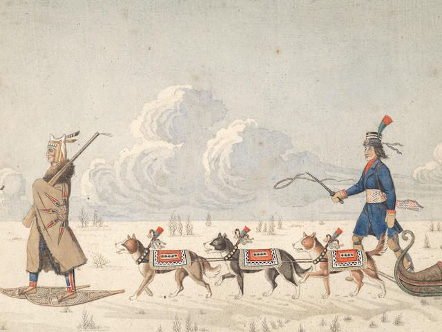Peter Rindisbacher (Swiss born, Canadian/American, 1806-1834) A Gentleman Travelling in a Dog Cariole in Hudson's Bay with an Indian Guide (on watermarked paper 'JR/1824')