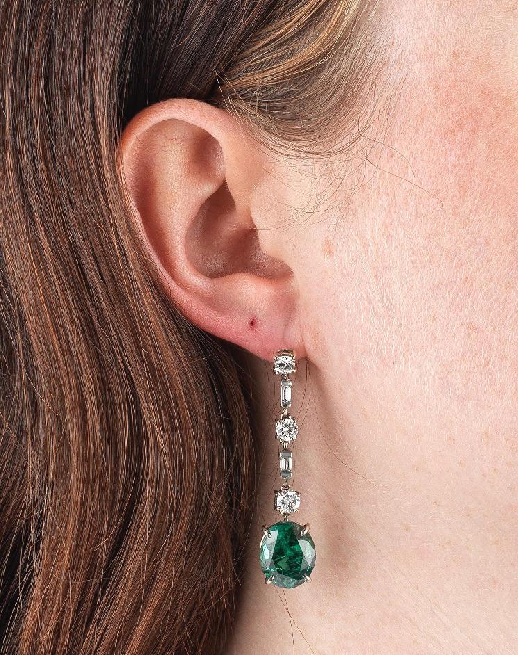 TOURMALINE AND DIAMOND PENDENT EARRINGS