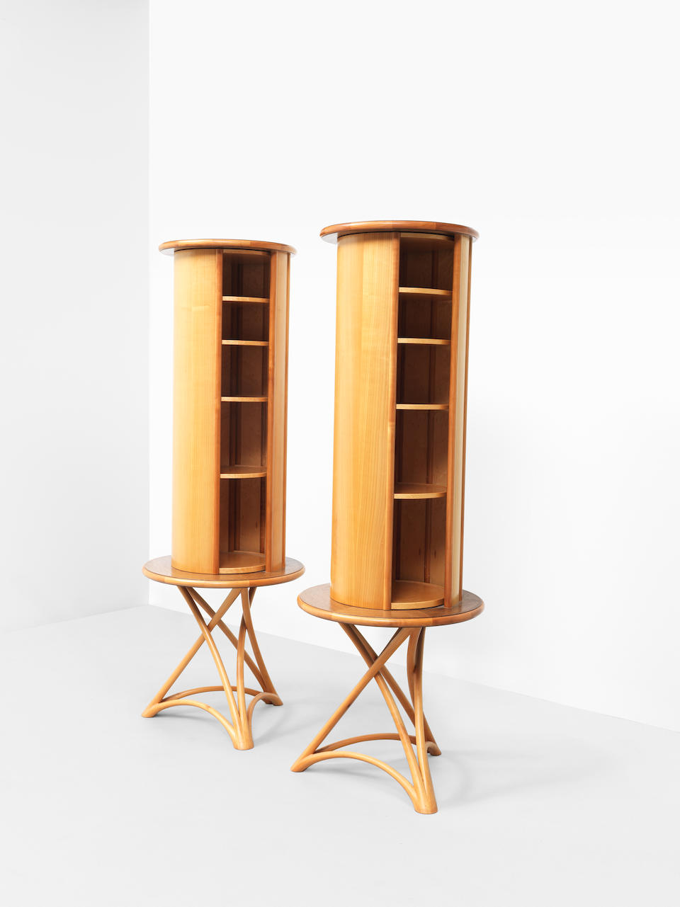 John Makepeace OBE Unique pair of cylindrical and rotating cabinets, designed for a private commission, London, 1985-1986