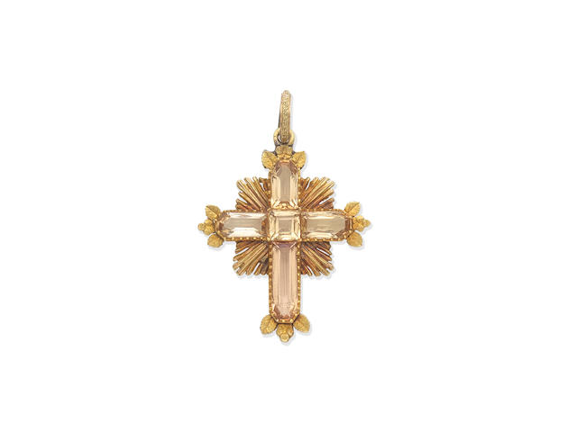 GOLD AND IMPERIAL TOPAZ CROSS PENDANT, 19TH CENTURY