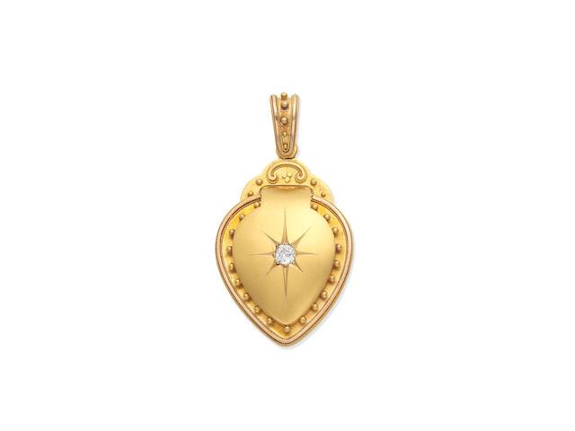 GOLD AND DIAMOND-SET HEART-SHAPED LOCKET, DATED 1881