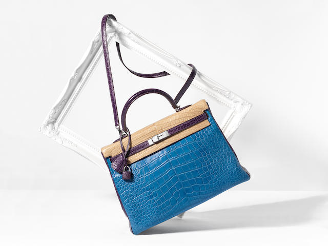 A SPECIAL ORDER TRI-COLOUR ALLIGATOR RETOURNÉ KELLY 35 Hermès, 2011 (includes padlock, keys, cloche, shoulder strap, leather card and three small dust bags)